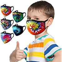 5PCs Reusable Kids Face Masᴋs, Cute Face Masᴋs, Tie-dye Print Mountain Bikes Face Masᴋs, Washable Fashion Dustproof Anti…