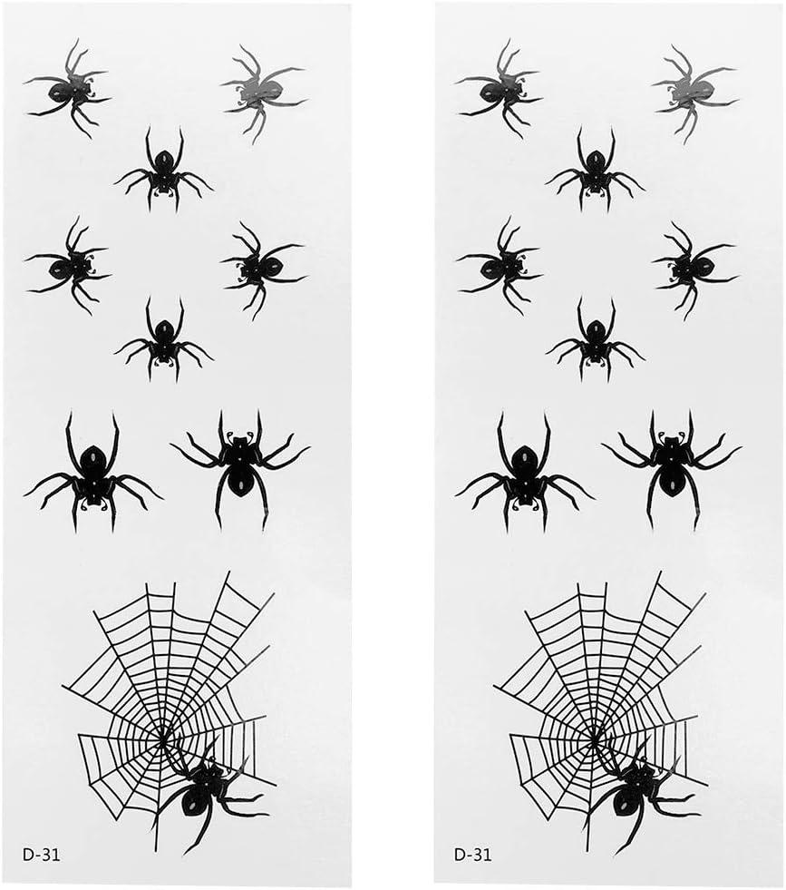 Minkissy 10 tatuajes. Temporal para tela de araña, negra ...