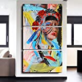 Truly Beauty Painting Native American Girl Feathered Women Modern Home Wall Decor Canvas Artworks Picture Art HD Print Painting On Canvas 3 Piece Framed Stretched Read to Hang, 72''H x 32''W