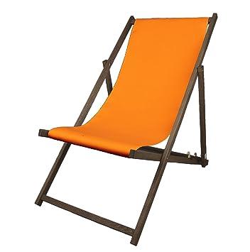 Liegestuhl Holz Orange Ohne Armlehne Mit Dunkelbrauner Lasur