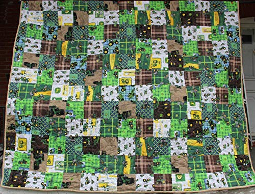 Large Fun Tractors Patchwork Quilt 86 x 101 Made in the ()