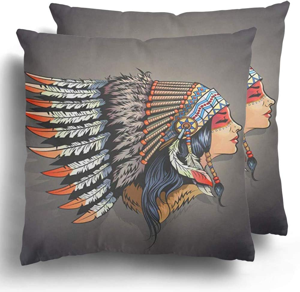 Throw Pillow Covers Woman American Indian Girl in National Headdress Native Cherokee Face Polyester Cushion Case for Winter Home Couch Decor 20 x 20 Inches Set of 2