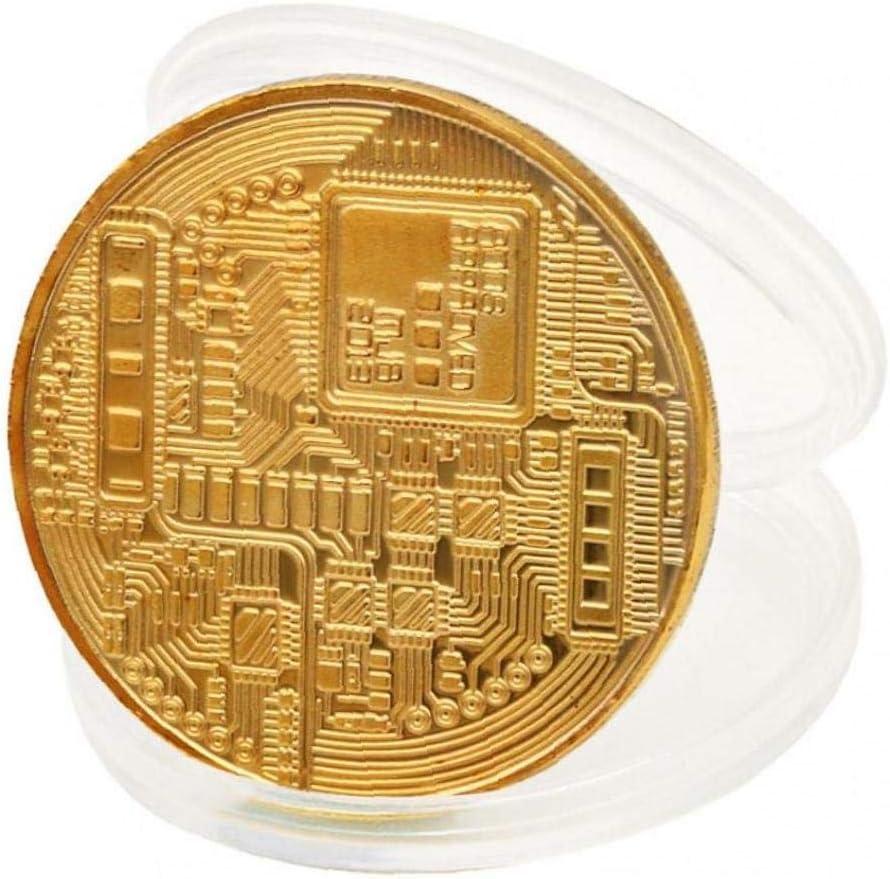 Aisoway Art-Gold /Überzogen Bitcoin Sammlung M/ünze Hauptraum-b/üro-Dekoration