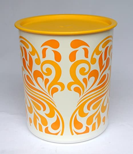 Tupperware One-Touch Canister, 4.4 Lts Yellow Paisley Design on shelves for kitchen ideas, wall art for kitchen ideas, stools for kitchen ideas, lights for kitchen ideas, decorations for kitchen ideas,
