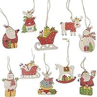 10-Pieces Ekotech Christmas Ornaments Wood Tree Decorations