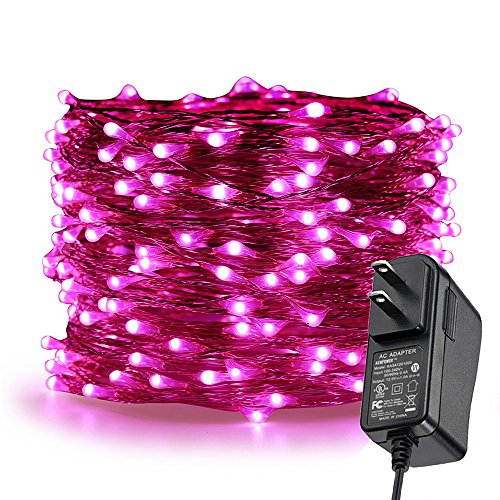 (ER CHEN LED String Lights Plug in, 66Ft/20M 200 LED Silver Coated Copper Wire Starry Lights Outdoor/Indoor Decorative Fairy Lights for Bedroom, Patio, Garden, Party, Christmas Tree (Pink))