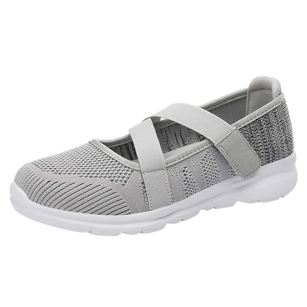 Kauneus Womens Knitting Comfy Round Toe Sports Shoes Ladies Stretchy Lightweight Anti-Slip Casual Loafers Grandma Shoes Gray by Kauneus Fashion Shoes