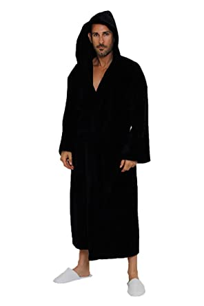 061e1634a9d0d Spa and Resort Hooded Terrycloth Bathrobe. Full Length 100% Turkish Cotton.  Colors Available (Black) at Amazon Men's Clothing store: