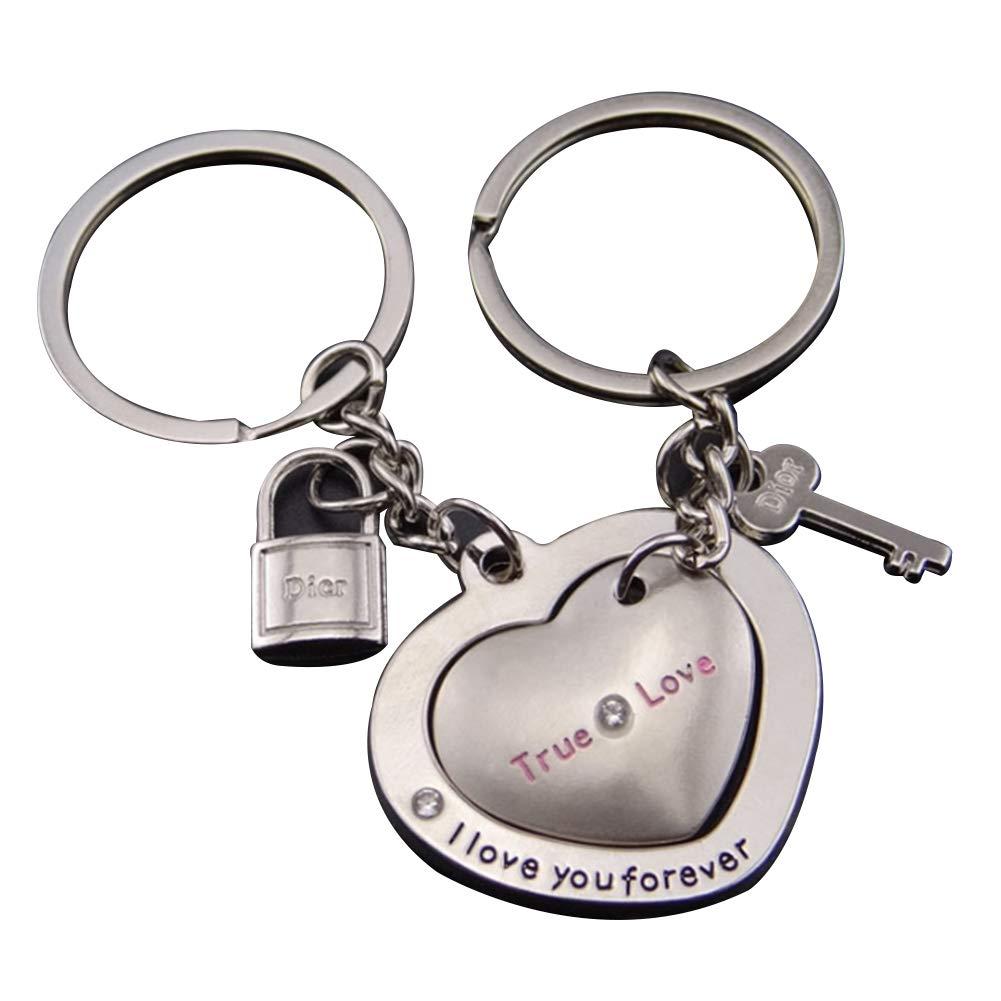 Trifycore 2 PCS True Love Porte-clés couple romantique Porte-clefs Clé clé de verrouillage de la chaîne à cour sur un cadeau Saint Valentin