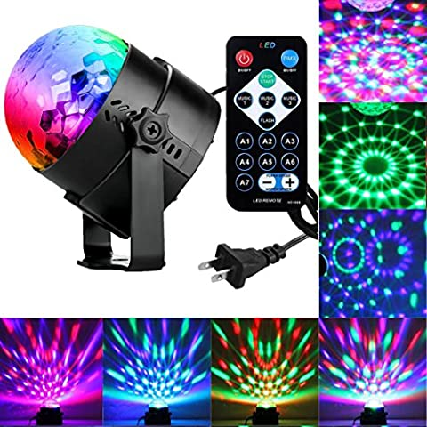 Sound Activated Party Lights with Remote Control Dj Lighting, RBG Disco Ball, Strobe Lamp 7 Modes Stage Par Light for Home Room Dance Parties Birthday DJ Bar Karaoke Xmas Wedding Show Club - Party Supplies