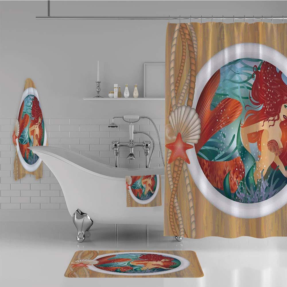 iPrint Bathroom 4 Piece Set Shower Curtain Floor mat Bath Towel 3D Print,Window Aquatic Cockleshell Mythology Yacht,Fashion Personality Customization adds Color to Your Bathroom.