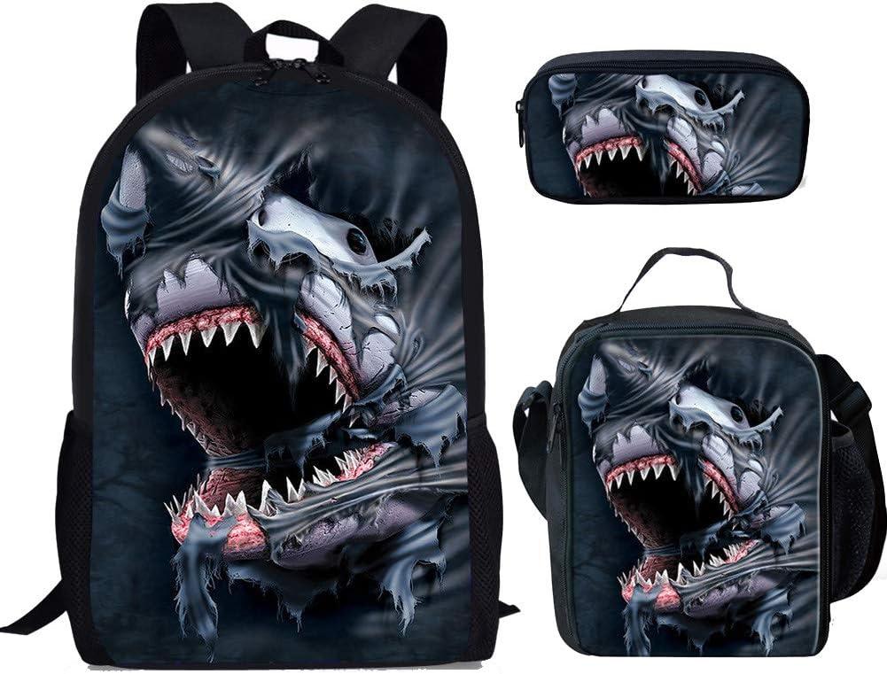 FOR U DESIGNS Backpack Set 3 Piece Shark Canvas School Bag Back to School for Kids/Girls/Boys/Teenagers