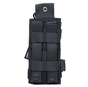 ROCOTACTICAL Tactical Radio Pouch - 1000D Tactical Molle Two Way Radios Holder Case For Walkie Talkies (Black) (Color: Black, Tamaño: 3.15 in*1.97 in*7.09 in(L*W*H))