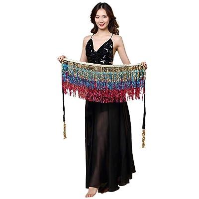 ACEBABY Traje de Danza del Vientre de Las Mujeres Falda de la Cintura Traje de Cadera Traje de Lentejuelas Borlas Bufanda Cadena de la Cintura del Vestido de la Borla con Lentejuelas: Ropa y accesorios