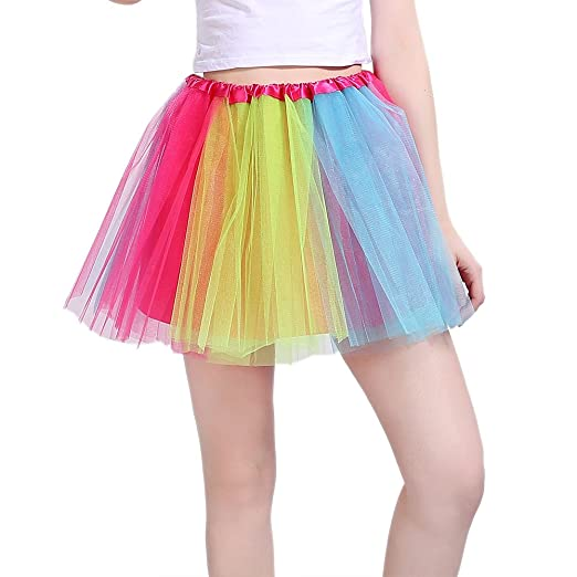 Women's Layered Multi-Coloured Petticoat Skirt (not see through) with stretchy waistband