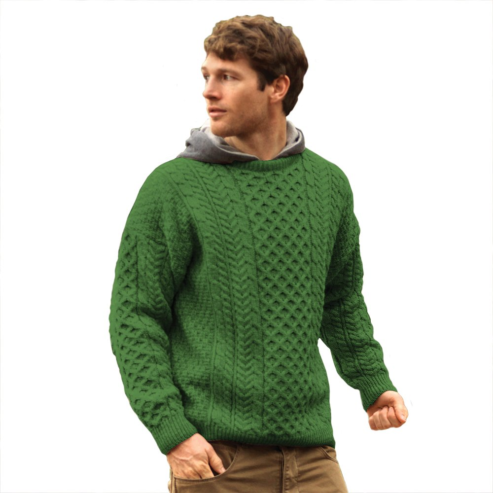 100% Irish Merino Wool Traditional Crew Neck Green Aran Sweater by Carraig Donn by The Irish Store - Irish Gifts from Ireland