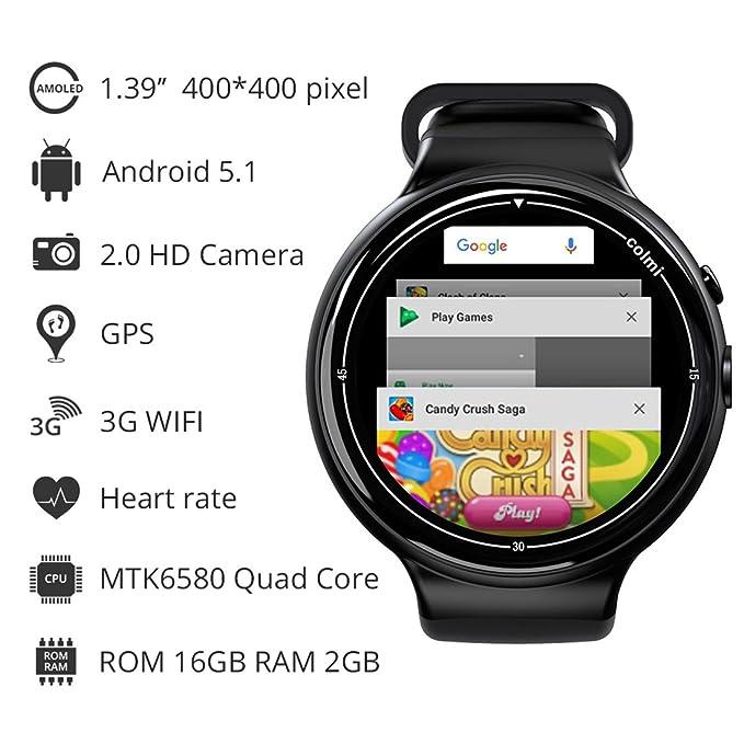 Amazon.com: PINCHU I2 Smartwatch Android 5.1 OS 2GB + 16GB ...
