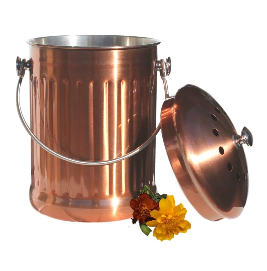 Kitchen Compost Pail Bin for Countertop - Large Capacity 1.5 Gallon Food Scrap Container, Leak proof Copper Coated Stainless Steel - Includes 1 Year of Charcoal Filters & Compost Bags by Gardenatomy (Image #5)
