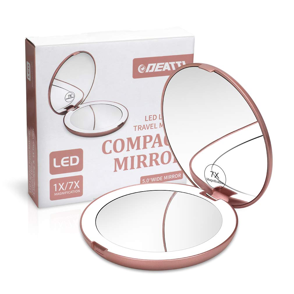 DEATTI Lighted Makeup Compact Mirror for Travel, 1X 7X Magnifying, Daylight LED, Portable Folding Mirror