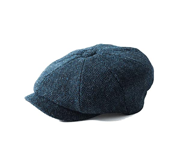 2dff5765631 Failsworth Hats Carloway 8-Piece Bakerboy Harris Tweed Blue 3302 (55cm)