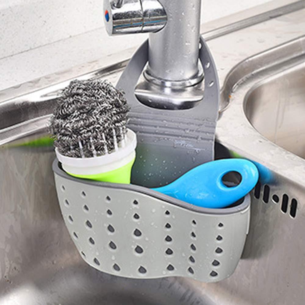 Frontoppy Porta Spugne Lavello Cucina, Portaspugna in plastica da Appendere al lavandino Organizer per Lavello Cestino Sink Shelving Bag for Kictchen,Bathroom