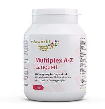 Complejo Multivitamínico A-Z - Liberación Progresiva - 100 Comprimidos Vita World Farmacia Alemania - Vitaminas y Minerales - Luteína y Coenzima Q10: ...