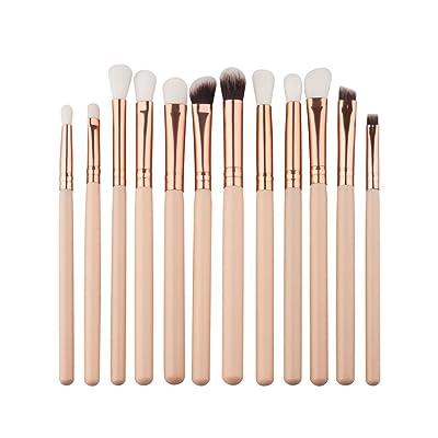 12 pcs makeup brush BBsmile 12 Unids Mini Cepillo de Sombra de Ojos Maquillaje Pincel de Maquillaje Cepillo Kits Herramientas (Beige)