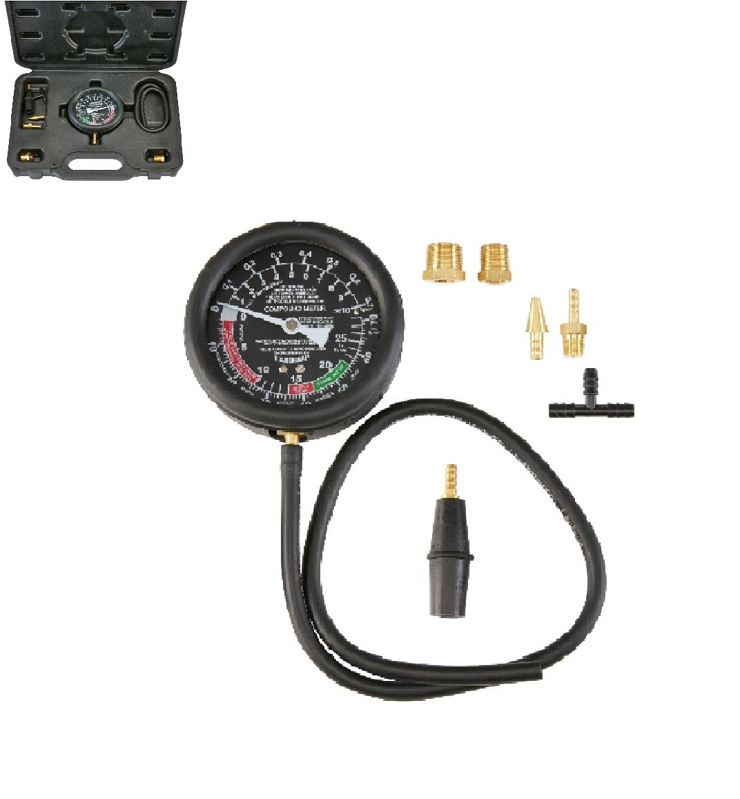 New Professional Mechanic 4 in. Gauge with Brass Accessories Fittings Fuel Pump & Vacuum Tester Auto Car Truck Improper Valve Timing Burned Stuck valves Sticking Choke Leaking Fuel Mixture