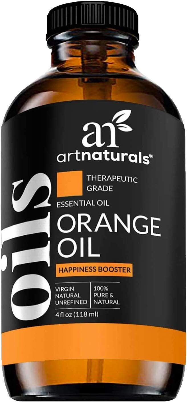 ArtNaturals Sweet Orange Essential Oil 4oz - 100% Pure Undiluted Therapeutic Grade Citrus Oil - Happiness Energize and Motivate - 120ml Large Glass Bottle w/ Dropper