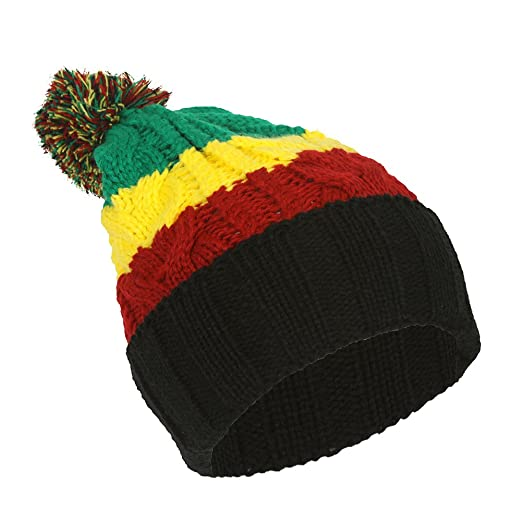 a29b3b8a914 Image Unavailable. Image not available for. Color  TOP HEADWEAR TopHeadwear  Rasta Color Block Crochet Knit Pom Cuff Beanie
