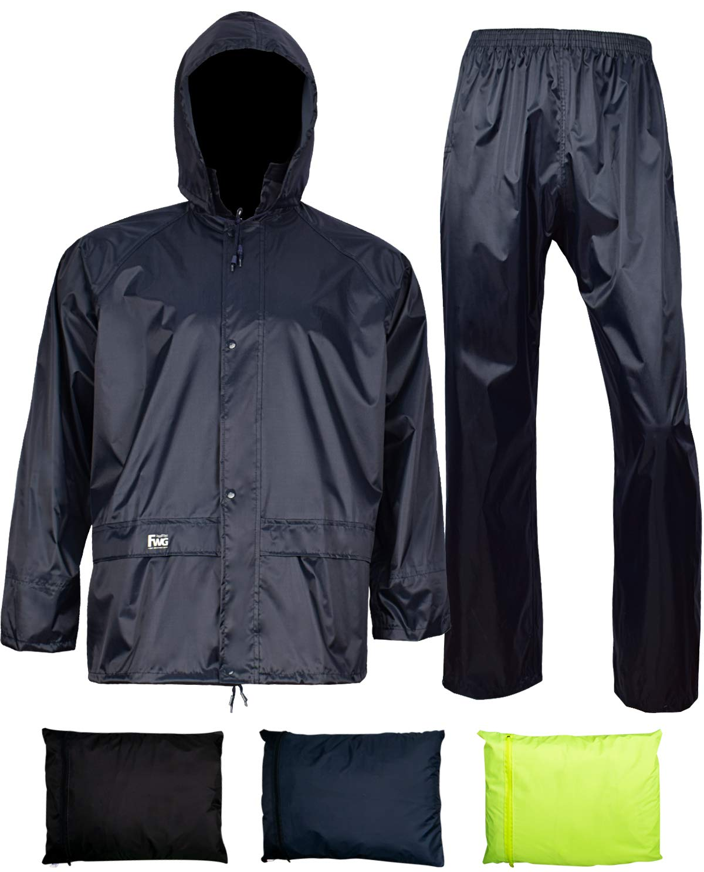 Rain Jacket with Pants for Men Women Waterproof Rain Coat 3-Pieces Ultra-Lite Suits (Large, Navy)
