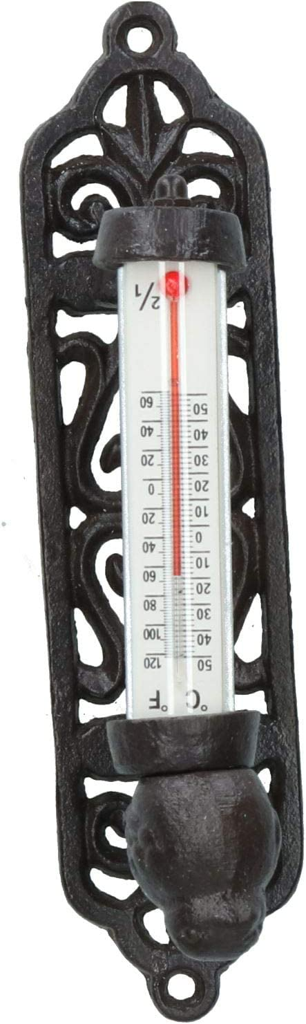 AB Tools Wall Rustic Thermometer Garden Wall Celsius Cast Iron Garden Shed House Post