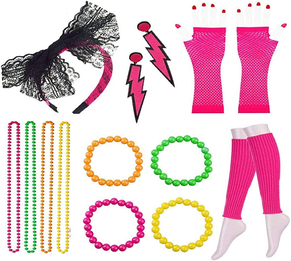80s Outfit Accessories Set for Bachelor Party 15PCS Womens 80s Outfit Costume Set Rose Red Cosplay Festive Dress Up