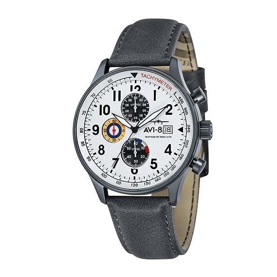 AVI-8 - Reloj de pulsera militar estilo aviador Hawker Hurricane inglés, movimiento del cronógrafo de cuarzo japonés: Amazon.es: Relojes