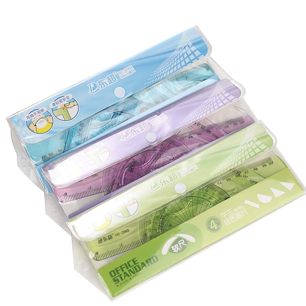 BALUZ Plastic Ruler Set,Pack of 4 Flexible Soft Transparent Ruler Measuring Tool Assorted Colors School Stationery 3 Sets
