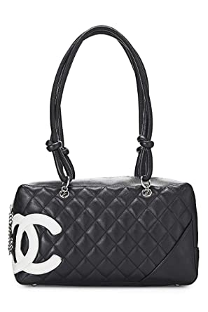 ad94cad2c7 Image Unavailable. Image not available for. Color: CHANEL Black Quilted  Calfskin Cambon Ligne Bowler ...