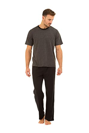 b9fcc3ae75e5f5 Haigman Mens Black Cotton Long Trouser & T-Shirt Pyjama Set S/M: Amazon.co. uk: Clothing