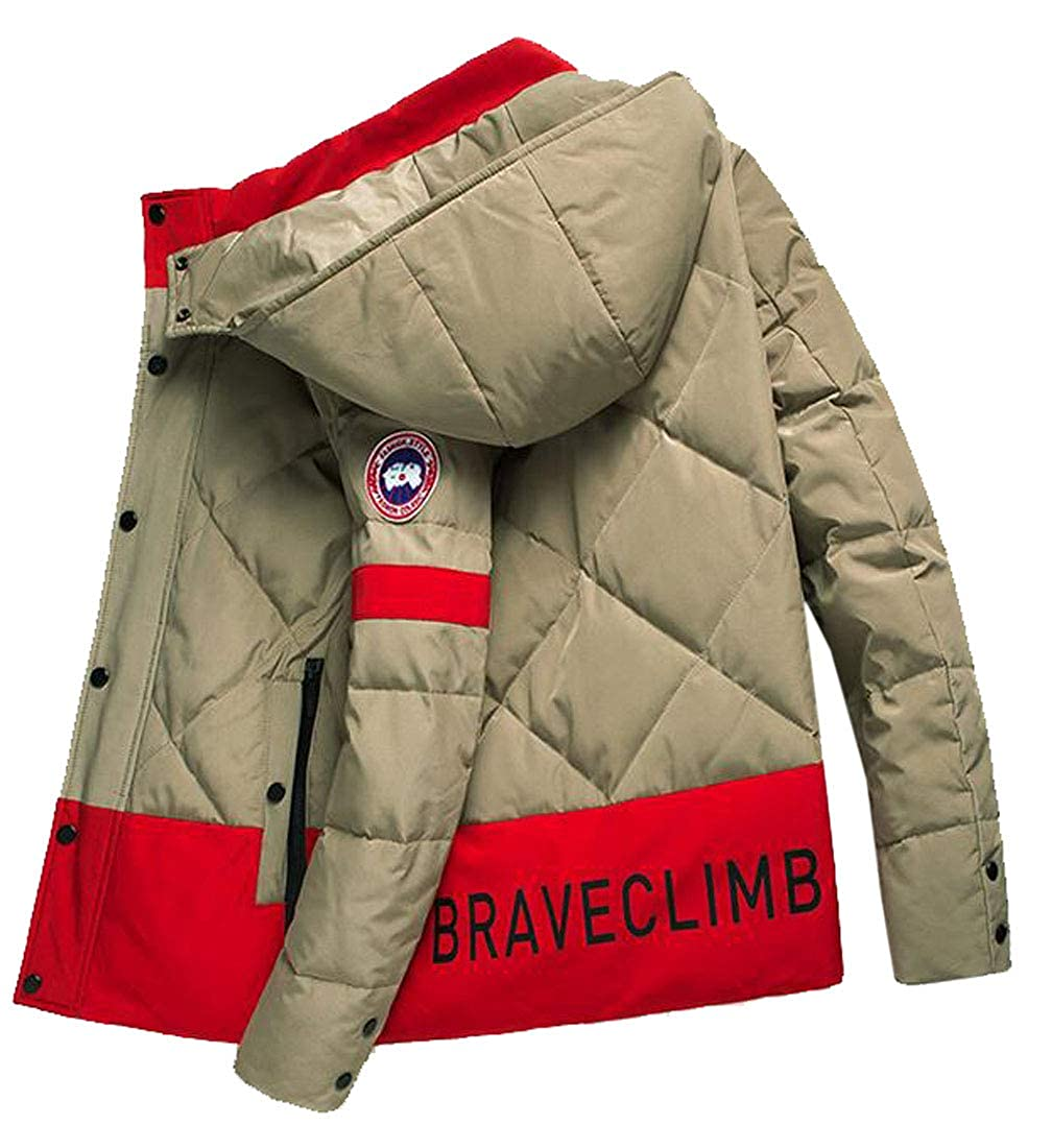MOUTEN Mens Thicken Color Block Hooded Winter Down Quilted Coat Jacket Outwear