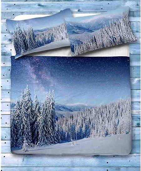 Copripiumino Paesaggio Invernale.Biancheriaweb Copripiumino In 100 Cotone Stampa Digitale Disegno