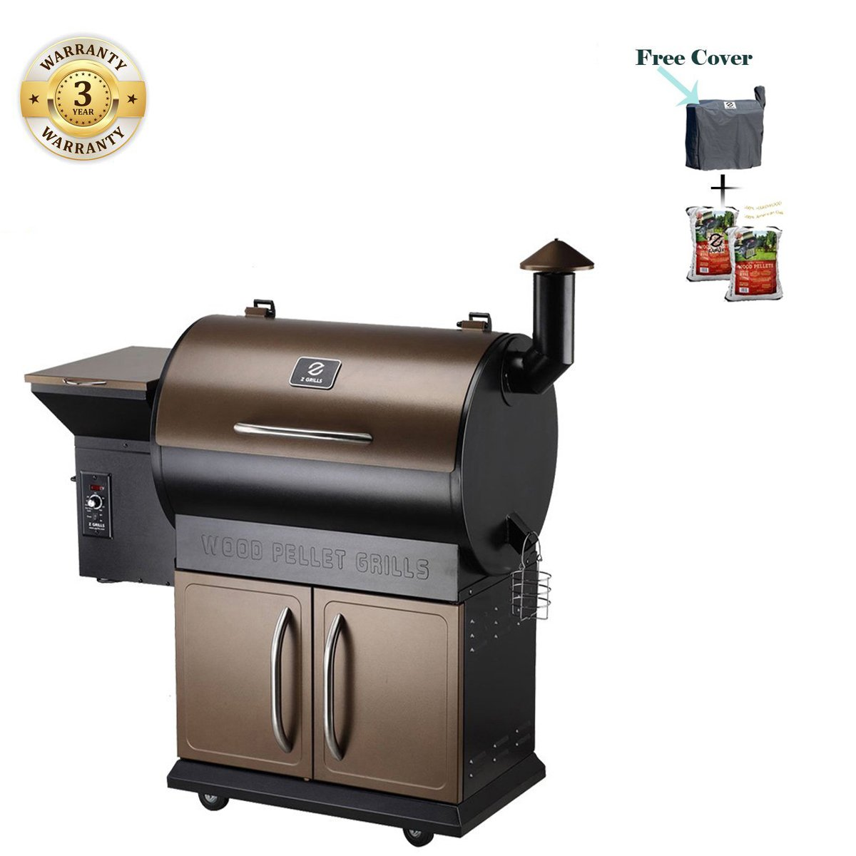 Wood Pellet Grill & Smoker with Patio Cover,700 Cooking Area 7 in 1- Electric Digital Controls Grill for Outdoor BBQ Smoke, Roast, Bake, Braise and BBQ with Storage Cabinet (Free 2 Wood Pellets)