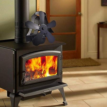 lossomly Ventilador para estufas de leña, chimenea, fogón, 5 aspas, con accionamiento de calor para leña, horno de leña, chimenea, respetuoso con el medio ambiente (negro): Amazon.es: Hogar