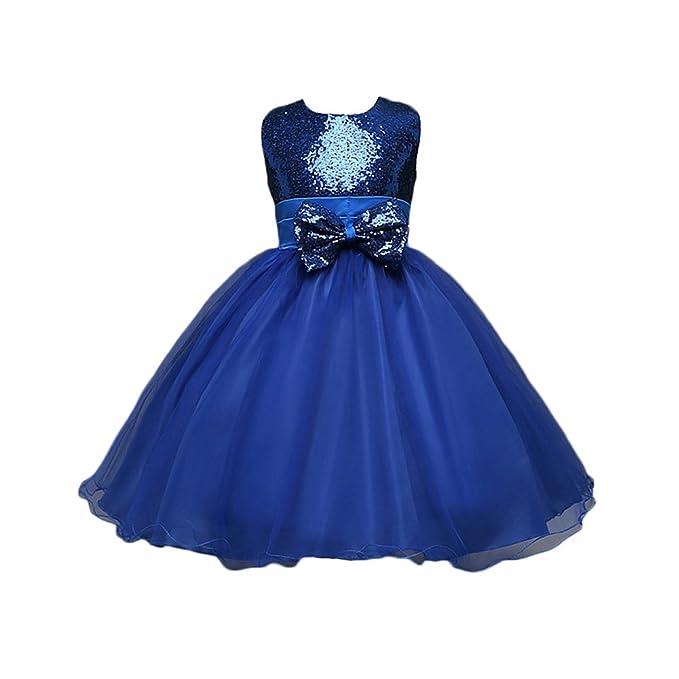 Feicuan Vestido de Niña Lentejuela Princesa Vestido Bowknot cordón Boda Noche Fiesta