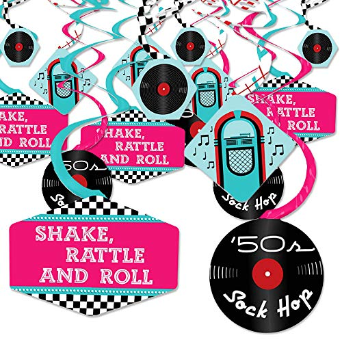 50's Sock Hop - 1950s Rock N Roll Party Hanging Decor - Party Decoration Swirls - Set of 40]()