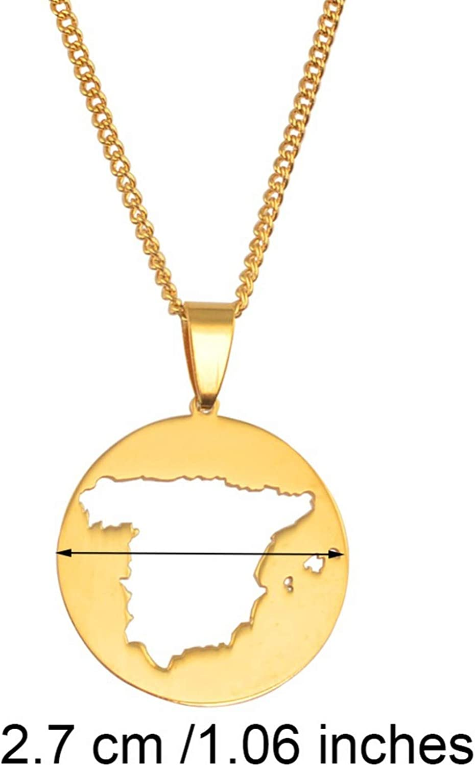 Life-Center-Store Round Spain Map Pendant Necklaces Stainless Steel for Women Men Girls Gold Color Charm Spanish Maps Jewelry Gifts