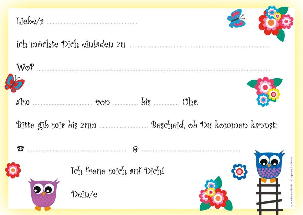 Umschlägen) Mit Süssen Eulen Zum Kindergeburtstag Oder Zur Party / Feier /  Kinderfest   6 Einladungen Zum Geburtstag Inkl. 6 Passender Umschläge:  Amazon.de: ...