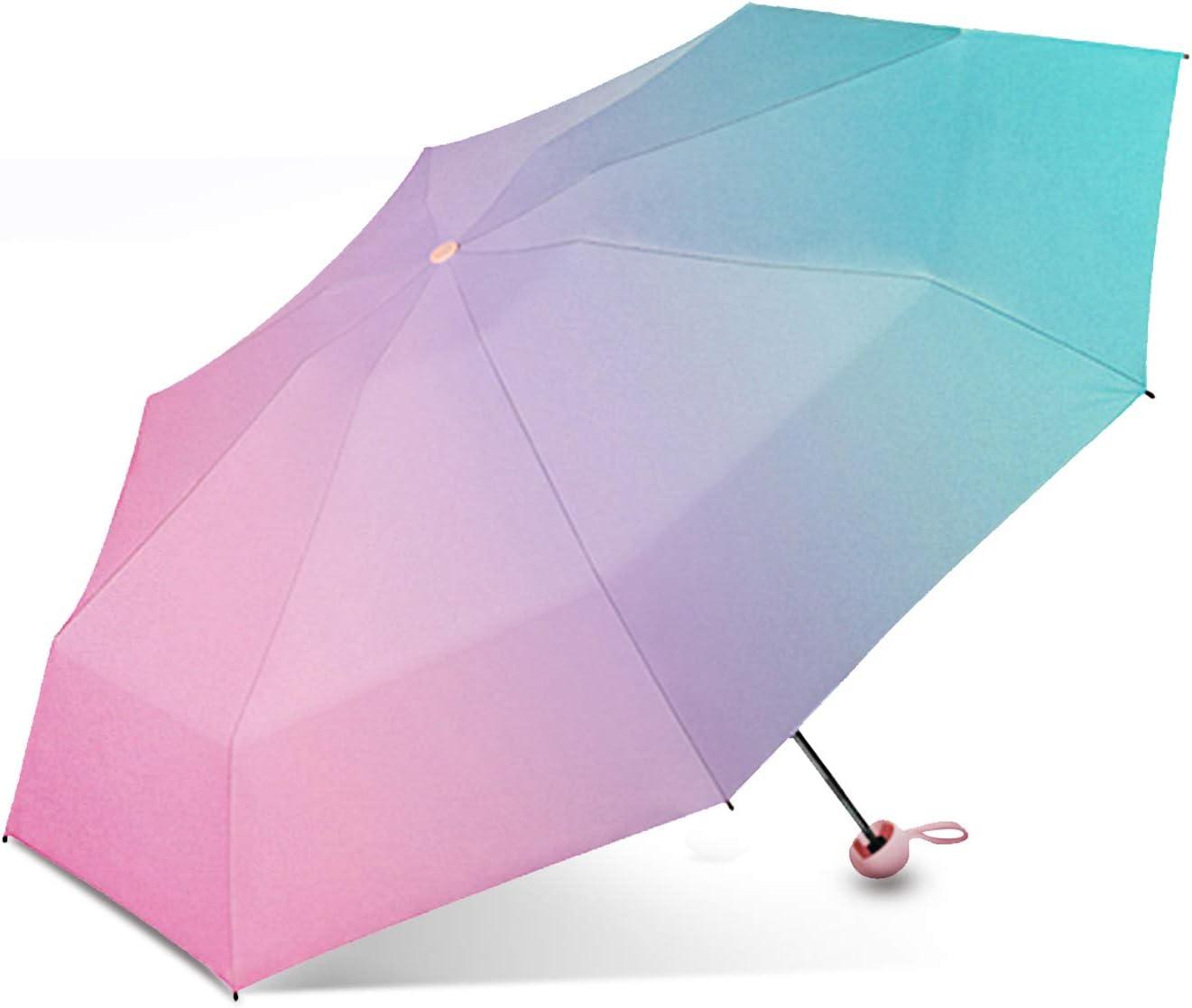 Galatée Mini Paraguas Plegable Paraguas Bloqueador Solar de Doble Capa con 8 Esqueleto de Paraguas, Protección UV UPF 50+ (Aurora) Recomendado para Adultos Mayores de 15 años.