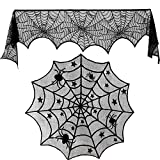 Blulu 18 by 96 inch Halloween Lace Spiderweb Fireplace Mantle and 40 inch Round Tablecloth Lace Spider Web Table Cover Topper for Halloween Home Party Supplies, 2 Pieces Totally