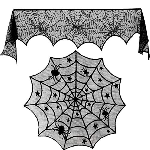 (Blulu 18 by 96 inch Halloween Lace Spiderweb Fireplace Mantle and 40 inch Round Tablecloth Lace Spider Web Table Cover Topper for Halloween Home Party Supplies, 2 Pieces)