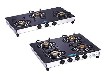 Milton Sapphire 3 Burner & 4 Burner Black Glass Top Stainless Steel Frame Gas Stove (Pack of 2)