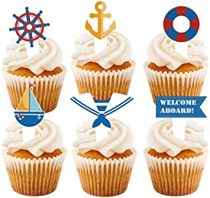 Nautical Cupcake Toppers, 24 Pcs Nautical Theme Glitter Cupcake Picks Cupcake Toppers Food Fruit Picks for Decoration Party Favors